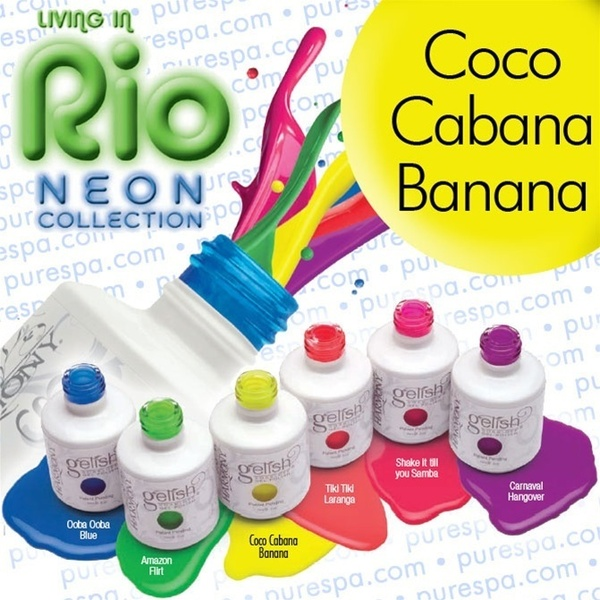IN STOCK! Coco Cabana Banana / 0.5 oz. - 15 mL. - Living in Rio Neon Collection - Gelish Soak Off Gel Nail Polish by Nail Harmony