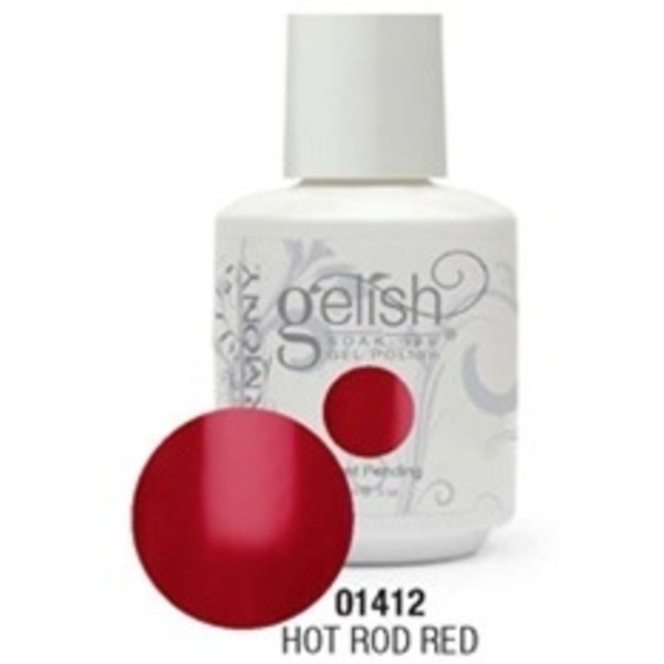 Gelish Color Coat: Hot Rod Red / 0.5 oz. - 15 mL. - Gelish Soak Off Gel Nail Polish by Nail Harmony <font color=#FFFFFF>(01412)</font>