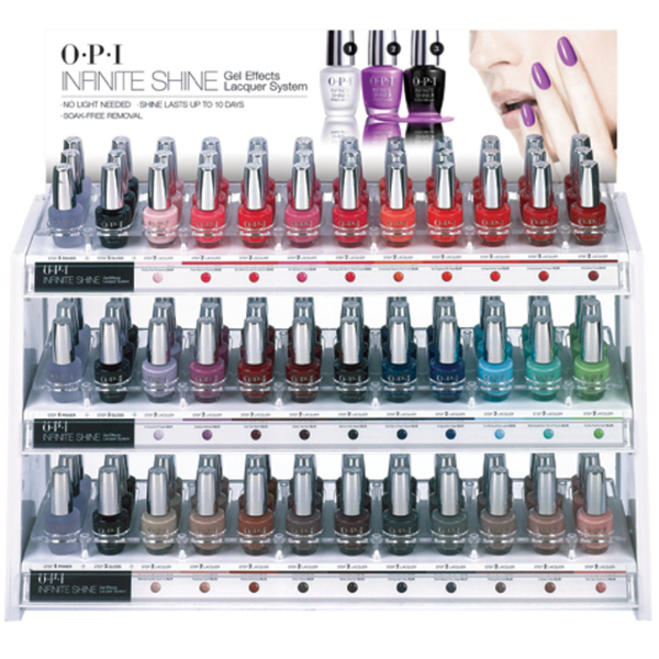 OPI Infinite Shine - Air Dry 10 Day Nail Polish - 108 Piece White Acrylic Counter Display (IS D02)