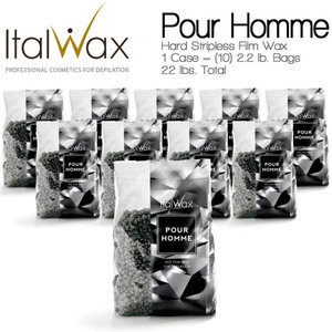 ItalWax Film Wax - Pour Homme - Hard Stripless Wax Beads from Italy 1 Case = (10) 2.2 lb. Bags = 22 lbs. Total (FILM-POUR HOMME-HARD-2.2 LB.BAG X 10)