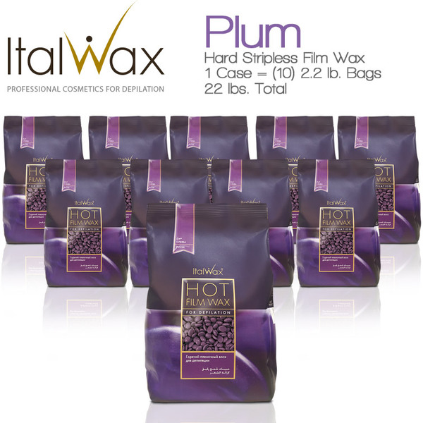 ItalWax Film Wax - Plum - Hard Stripless Wax Beads from Italy 1 Case = (10) 2.2 lb. Bags = 22 lbs. Total (FILM-PLUM-HARD-2.2 LB.BAG X 10)