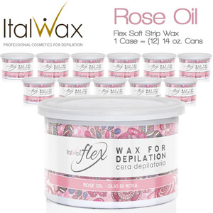ItalWax Flex Wax - Rose Oil - Soft Strip Wax from Italy 1 Case = (12) 14 oz. Cans (FLEX-ROSE OIL-14OZ.CAN X 12)