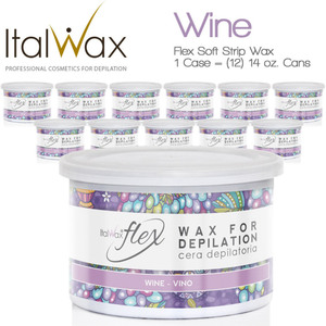 ItalWax Flex Wax - Wine - Soft Strip Wax from Italy 1 Case = (12) 14 oz. Cans (FLEX-WINE-14OZ.CAN X 12)