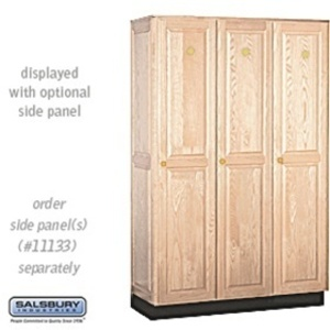 "Single Tier Solid Oak Executive Locker - 3 Lockers Wide X 6' High X 18"" Deep - Light Oak (11368LGT)"