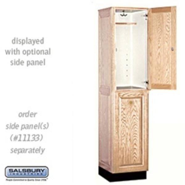 "Double Tier Solid Oak Executive Locker - 1 Locker Wide X 6' High X 18"" Deep - Light Oak (12168LGT)"