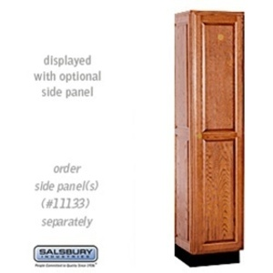 "Single Tier Solid Oak Executive Locker - 1 Locker Wide X 6' High X 18"" Deep - Medium Oak (11168MED)"
