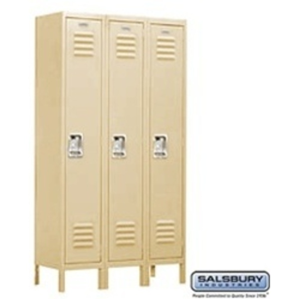 "Single Tier Standard Locker - 3 Lockers Wide - 5' High X 15"" Deep"