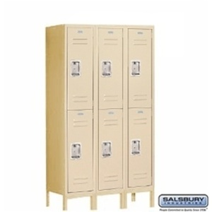 "Double Tier Standard Locker - 3 Lockers Wide - 5' High X 15"" Deep"