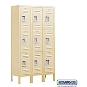 "Triple Tier Standard Locker - 3 Lockers Wide - 5' High X 12"" Deep"