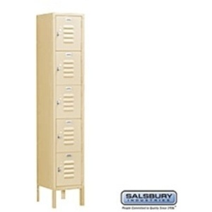 "Box Style Standard Locker - Five Tier - 1 Locker Wide - 5' High X 15"" Deep"