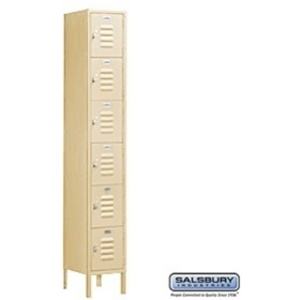 "Box Style Standard Locker - Six Tier - 1 Locker Wide - 6' High X 15"" Deep"