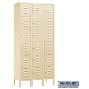 "Box Style Standard Locker - Six Tier - 3 Lockers Wide - 6' High X 15"" Deep"
