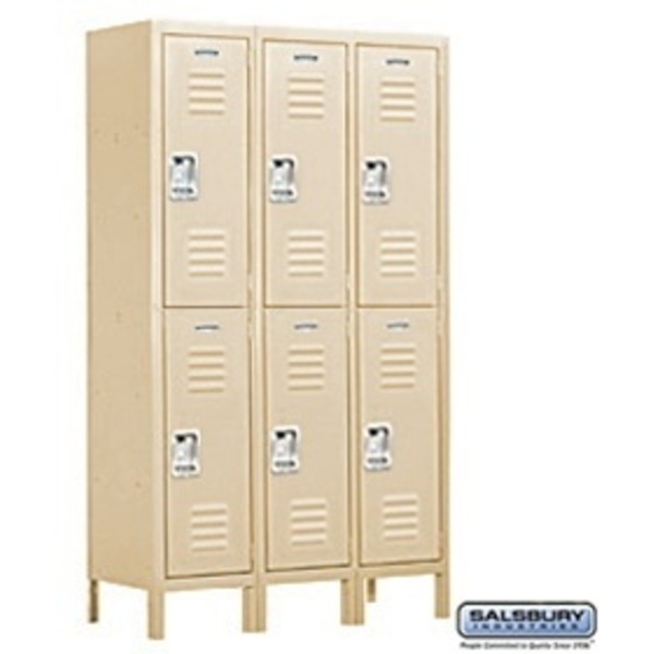 "Extra Wide Standard Locker - Double Tier - 3 Lockers Wide - 6' High X 18"" Deep"
