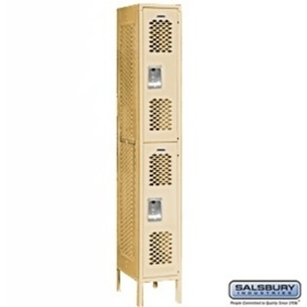"Vented Locker - Double Tier - 1 Locker Wide - 6' High - 12"" Deep"