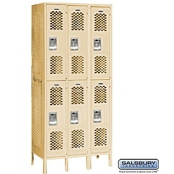 "Vented Locker - Double Tier - 3 Lockers Wide - 6' High - 18"" Deep"