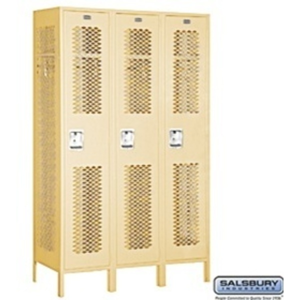 "Extra Wide Vented Locker - Single Tier - 3 Lockers Wide - 6' High - 18"" Deep"