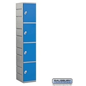 "Four Tier Plastic Locker - 1 Locker Wide - 73"" High - 18"" Deep"