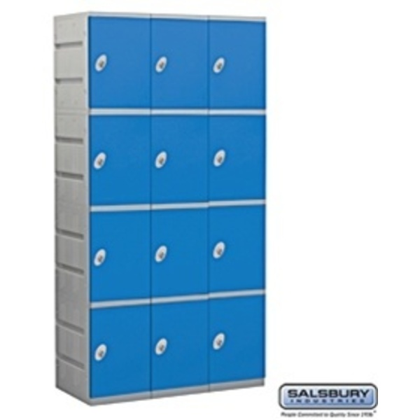 "Four Tier Plastic Locker - 3 Lockers Wide - 73"" High - 18"" Deep"