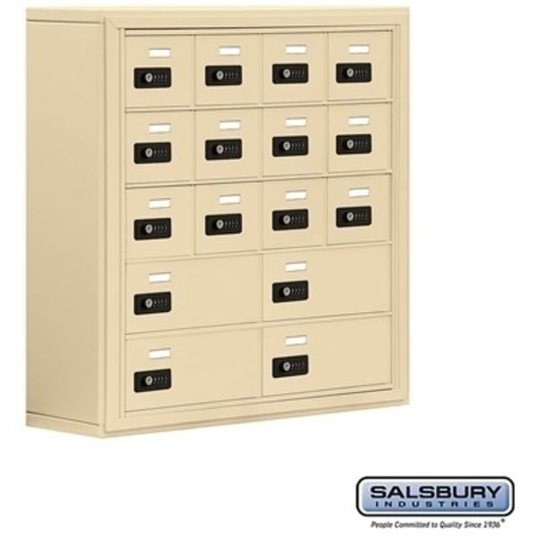 "Cell Phone Storage Locker - 12 ""A"" Doors - Door Size: 6.5""W x 5.25""H and 4 ""B"" Doors - Door Size: 13""W x 5.25""H / Resettable Combination Locks"