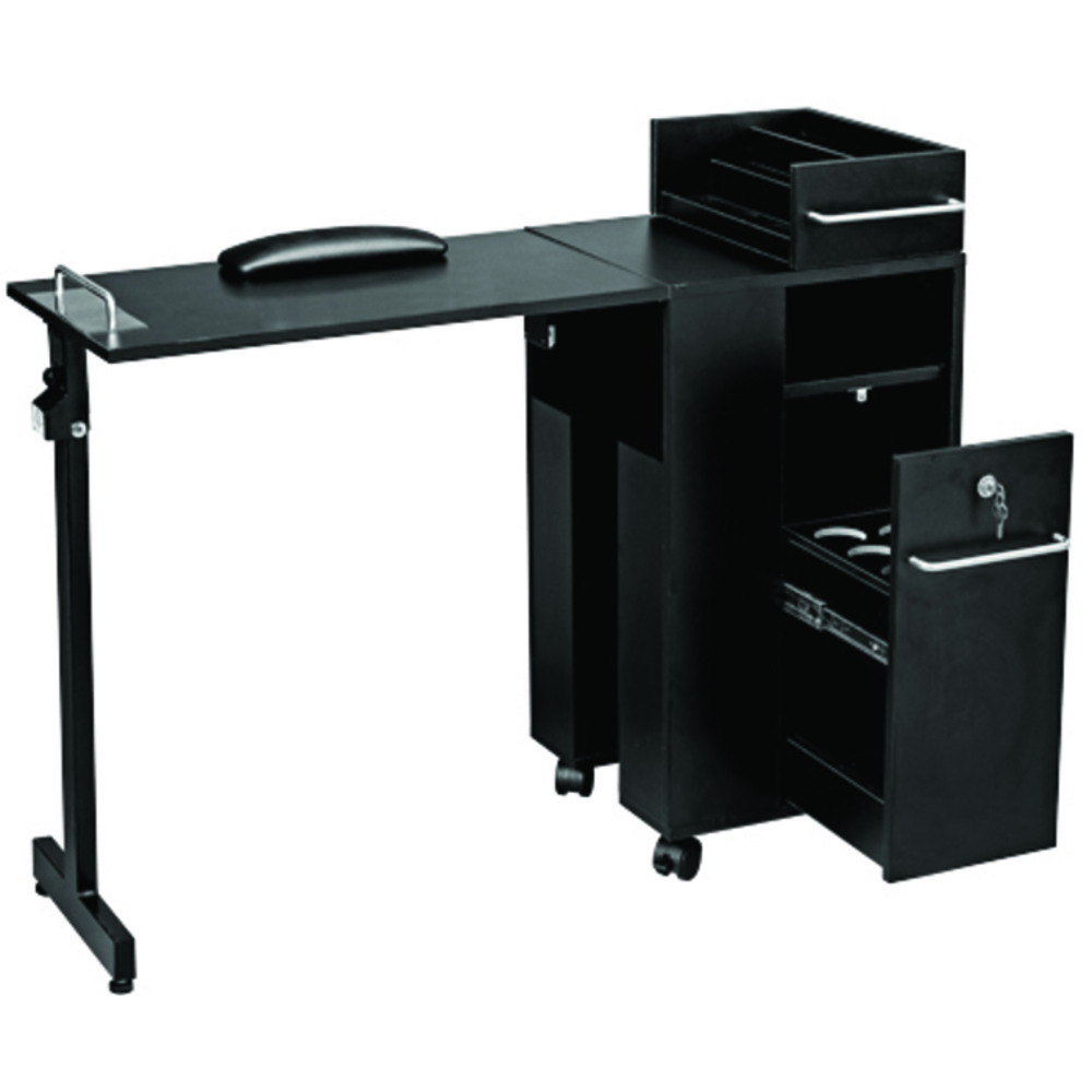 Folding manicure table black laminate finish 2009bl for Fold away nail table