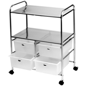 Professional Work Cart with 4 White Storage Drawers (D4W)