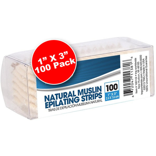 "Natural Muslin Epilating Strips 1"" x 3"" 100 Count (100143)"