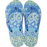 Women's Classic Flip Flops - Blue-Green Paisley Medium (Size 7-8) 1 Pair (100424)