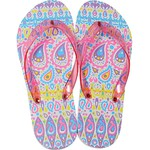 Women's Classic Flip Flops - Pink-Purple Paisley Medium (Size 7-8) 1 Pair (100428)