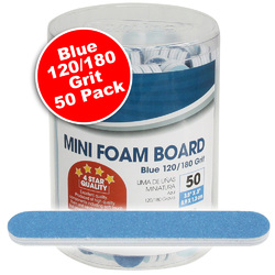 "Mini Foam Boards - Blue - 120180 Grit - 3.5"" x .5"" 50 Pack (100491)"