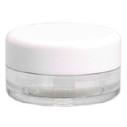 Rounded Clear Plastic Jar with White Lid - 0.11 oz. 48 Count (100842)