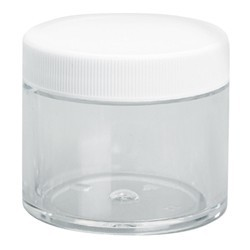 Clear Plastic Jar with White Lid - 2 oz. 8 Count (100848)