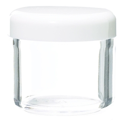 FPO Tableware Clear Jar with White Lid 0.57 oz.