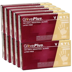 Clear Powdered Disposable Vinyl Gloves - Medium 1000 - Case of 10 Boxes of 100 (110285)