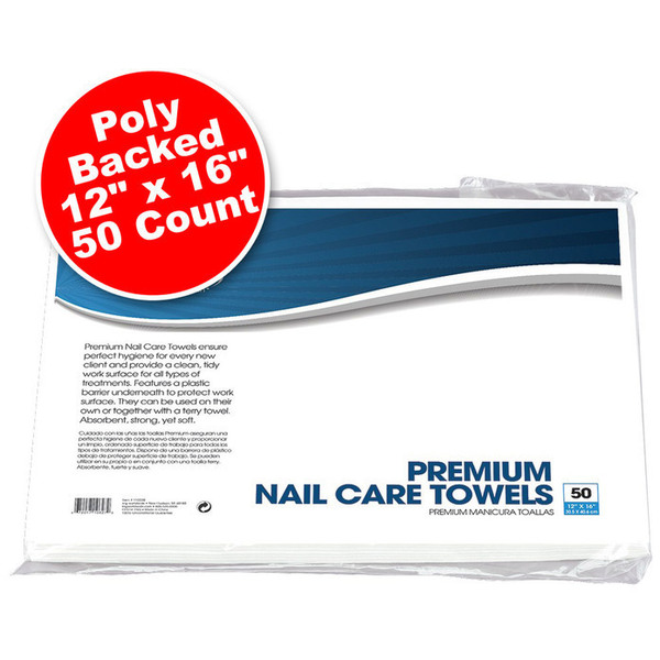 "Premium Poly-Backed Nail Care Towels -12"" x 16"" 50 Count (110339)"