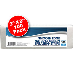 "Smooth Edge Natural Muslin Epilating Strips 3"" X 9"" 100 Pack (140296)"