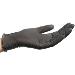 Black Powder-Free Nitrile Gloves - 4 Mil Thick - Size M Box of 100 (140485)