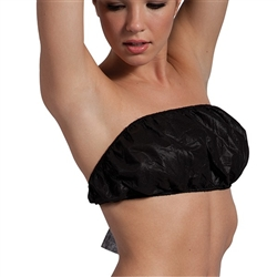 Disposable Black Strapless Tie Bra Individually Wrapped 50 Pack (140508)