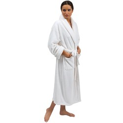 Premium Coral Fleece Spa Robe - One Size Fits Most - White (140592)