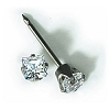 INVERNESS 14K White Gold 3mm Square Princess CZ Pi