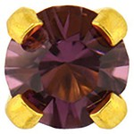 Studex Gold Plated Crystals 3mm - Tiffany Setting - Amethyst (181006)