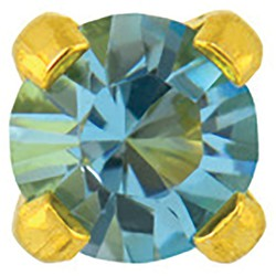 Studex Gold Plated Crystals 3mm - Tiffany Setting - Aquamarine (181007)