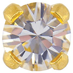 Studex Gold Plated Crystals 3mm - Tiffany Setting - Crystal (181008)
