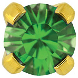 Studex Gold Plated Crystals 3mm - Tiffany Setting - Peridot (181009)