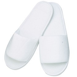 Premium Open Toe Terry Spa Slippers - White 1 Pair (301224)