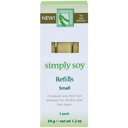 CLEAN+EASY Simply Soy Wax-Free Hair Remover Refills Small 3-Pack (302040)