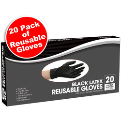 Black Latex Reusable Gloves 20 Pack (441741)