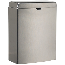 "BOBRICK Stainless Steel Sanitary Napkin Disposal Receptacle Satin Finish 10""H x 7.5""W x 3.75""D (800003)"