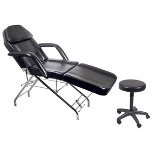 Encore Black Facial Beauty Chair with Face Rest Towel Bar & Stool (FBC-A1BK)