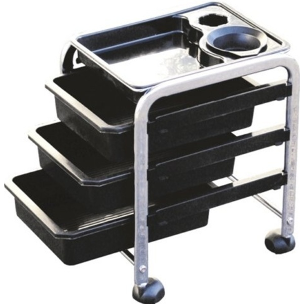 Encore Black Pedicure Trolley with 3 Trays (H-2604BK)