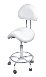 Encore Saddle Stool with Back Support White (H-2640BW)